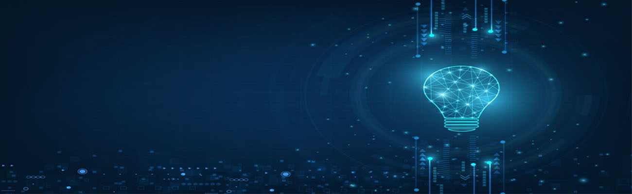 Vector circle tech with light blue and lamp bulb on technology background.